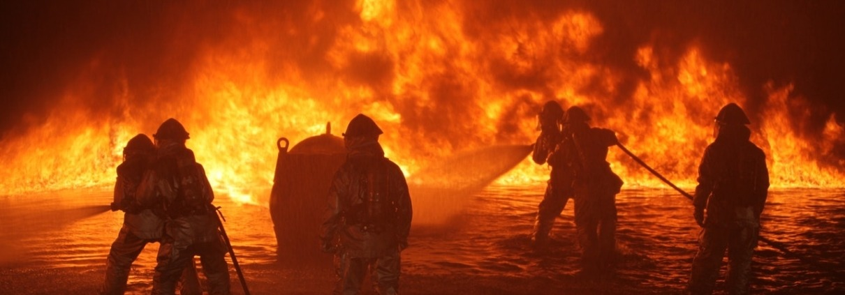 Firefighters fighting a wildfire